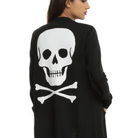 Black Skull & Crossbones Girls Open Cardigan