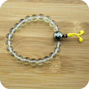 Lemon Quartz Crystal Wrist Mala Bracelet with Faceted Pyrite