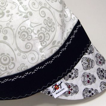 Ghost Paisley & Day of the Dead Skulls Size 7 1/4 Hybrid Welding Cap