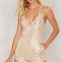 Sequin You Shall Find Plunging Romper