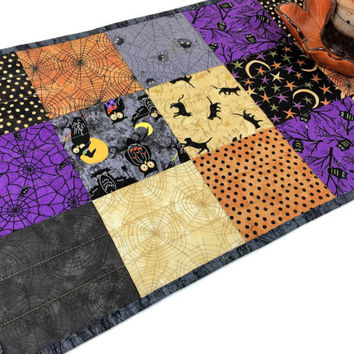 Spooky Halloween Charms Quilted Table Runner in Black, Purple and Orange - Bats, Owls, Spiders!  Autumn Table Runner Quilt