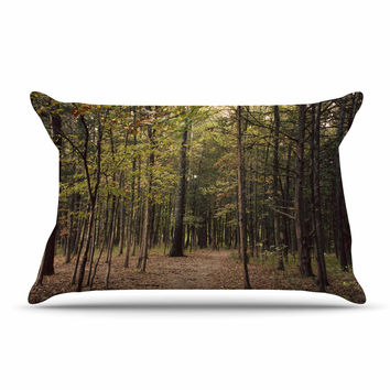 "Sylvia Coomes ""Forest Trees"" Green Brown Pillow Case"