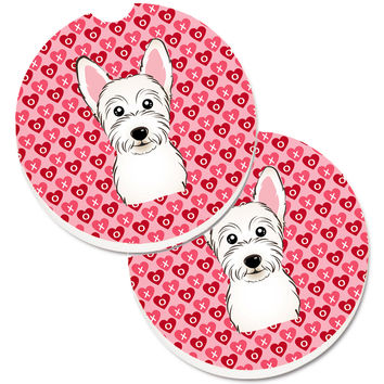 Westie Hearts Set of 2 Cup Holder Car Coasters BB5296CARC