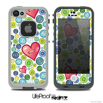 The White Vintage Vector Heart Buttons Skin for the iPhone 4 or 5 LifeProof Case