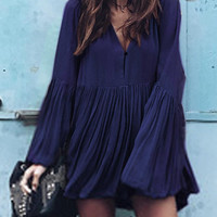 Navy V Neck Flare Sleeve Ruched Mini Dress