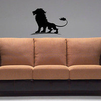 Wall Vinyl Decals Sticker Room Animals Powerful Lion King Emblem KJ2318