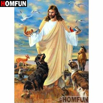 5D Diamond Painting Jesus the Father of all Animals Kit