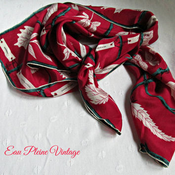 Autumn Leaves Print Deep Red Vintage Neck Head Scarf