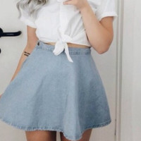 FASHION CUTE BLUE SKIRT HIGH QUALITY NOT THE POOR