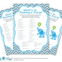Boy Elephant What is in Mommy's Purse, guess purse Game Printable Card for Baby Elephant  Shower DIY Blue gray Chevron -  oz01bs13