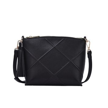 Black Vera Quilted Cross Body Bag