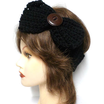 Women's black crochet large bow large brown button accent headband, ear warmer, black crochet bow button headband, gift