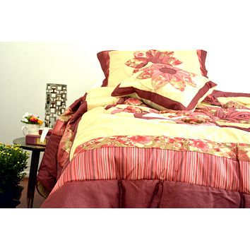 DaDa Bedding Sunset Rubies Red Burgundy Beige Floral Ruffles Comforter Set (BM465L-1)
