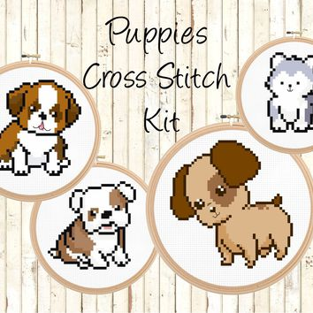Beginner Puppy Dogs Cross Stitch Kit