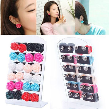 12 Pair New Jewelry Women Big Rose Flower  Ear Stud Earrings With Display Stand = 1946813892