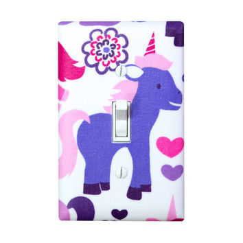 Unicorn Princess Light Switch Plate Cover / Girls Kids Room / Pink Purple / Fairy Tales by Michael Miller