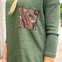 Touch of Sparkle Tunic - Olive