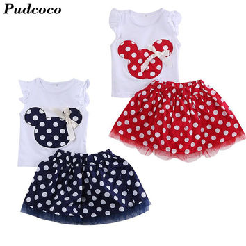 Pudcoco Minnie Mouse 2PCS Set Baby Girls Clothes 2017 Summer Kids Polka Dot Tops+Skirt Outfits Bebek Children Girl Clothing Set