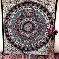 Elephant Deer Wall Hanging , Indian Mandala Tapestry Throw Bedspread , Dorm Tapestry , Decorative Wall Hanging , Picnic Beach Sheet Coverlet