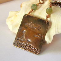 Nautical Pendant, hand stamped copper, beach, Summer, green