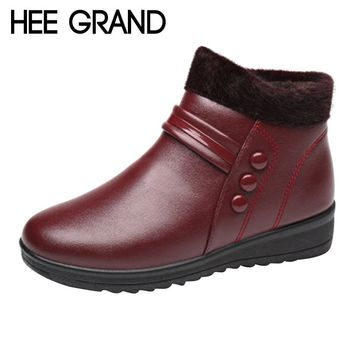 HEE GRAND Solid Winter Warm Faux Fur Snow Ankle Boots Pu Patent Leather Casual Women Mother Flats Shoes Woman Size 36-40 XWX6489