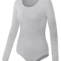 LE3NO Womens Round Neck Long Sleeve Bodysuit (CLEARANCE)