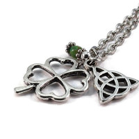 Celtic Knot Four Leaf Clover Necklace