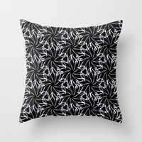 Black And Whte Floral Throw Pillow by kasseggs
