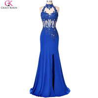 Mermaid Prom Dresses Grace Karin Halter Sexy Hollow Back See Through Royal Blue Side High Split 2017 Prom Dresses Mermaid