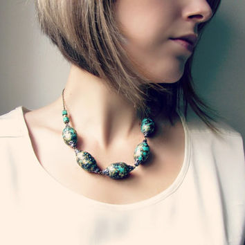 Bohemian Chunky Necklace in Teal, Black and Gold. Textured Geometric Statement Necklace.