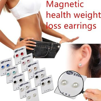Fashion Magnetic Weight Loss Earrings, Fashion Diamond Pearl Magnetic Earrings, Health Points to Stimulate Weight Loss Earrings