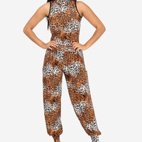 Light Brown Animal Print Jumpsuit