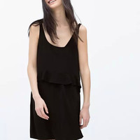 Black Sleeveless Ruffle Double Layer Chiffon Dress