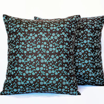 Set of 2 Brown and Teal Decorative Pillow Covers // Brown and Blue Pillowcases // Polka Dot Pillows // Brown Home Decor