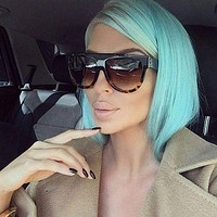 Women Flat Top Big Frame Rivet Shades Sunglasses