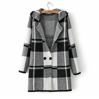 Women`s Knitted Plaids Loose Sweater Trench Coat Cardigan Outwear