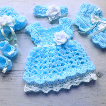 Baby Girl Coming Home Outfit in Blue Baby Shower Gift, Newborn Take Home Outfit, Bringing Baby Home Outfit