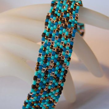Ravenclaw Harry Potter Blue Teal Brown Bronze Mix Beaded Peyote Cuff Bracelet