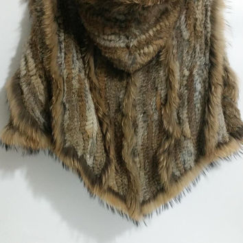 Hand Thick Crochet Nature Brown Rabbit fur Hooded Poncho raccoon fur Trim Hooded Coat Wedding Stole Winter Stole Hoodies