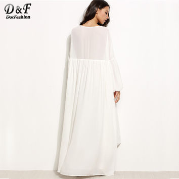 Brief Maxi Dress Women White Loose Lantern Sleeve High Low Tent Dresses 2017 Fashion V Neck Draped L