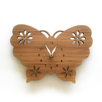 Butterfly Bamboo Wall Clock