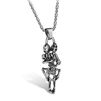 Stainless Steel Embracing Skeletons Necklace