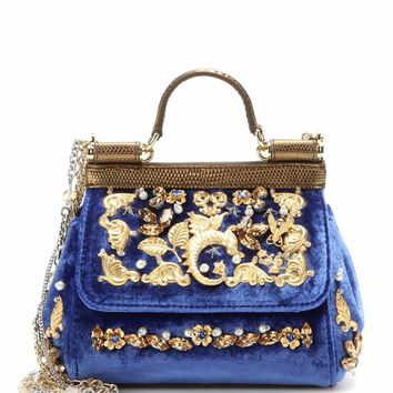 Miss Sicily Mini embellished velvet shoulder bag