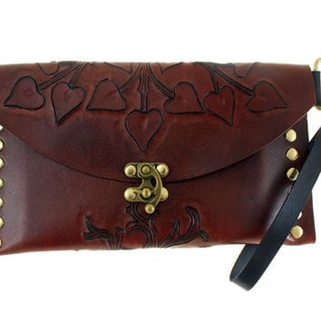 Tree of life hand carved leather clutch