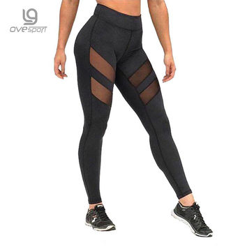 Ladies High Waist Mesh Women Leggings Fitness Breathable Push Up Leggings Women Quick Dry  High Quality Workout Casual leggins