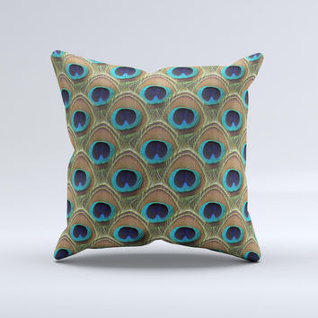 Multiple Peacock Feather Pattern ink-Fuzed Decorative Throw Pillow