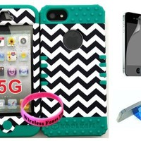 Bumper Case for Iphone 5 Dark Blue Chevron Waves Snap on + Teal Silicone with Screen protector,Media Display Kickstand and Wireless Fone's wristband