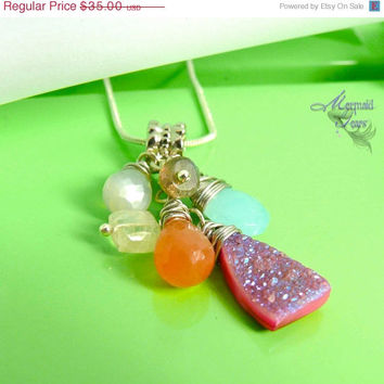 ON SALE Hot Pink Druzy Necklace - moonstones, chalcedony, labradorite gemstone jewelry made in Hawaii by Mermaid Tears ROCK Candy