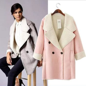 MDIGU3S UK Brand Suede Jacket  Warm Winter Jacket Women Slim Detachable Fur Collar Coat Ladies Parka Outwear Casual Overcoat