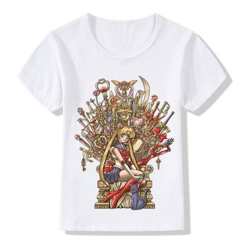 Children Fashion Anime Sailor Moon Game Of Thrones Design Funny T-Shirt Kids Baby Clothes Boys Girls Summer Tops Tees,HKP5077